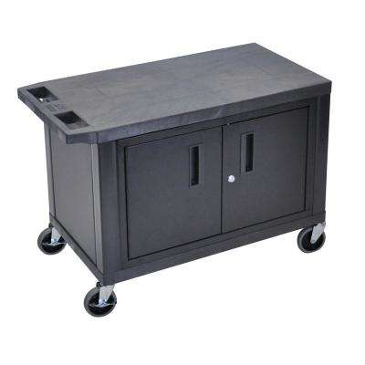 EC 32 in. 2-Shelf cart Utility Cart with Cabinet in Black