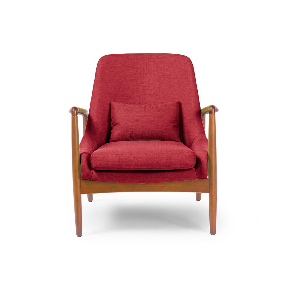 Baxton Studio Carter Mid Century Red Fabric Upholstered