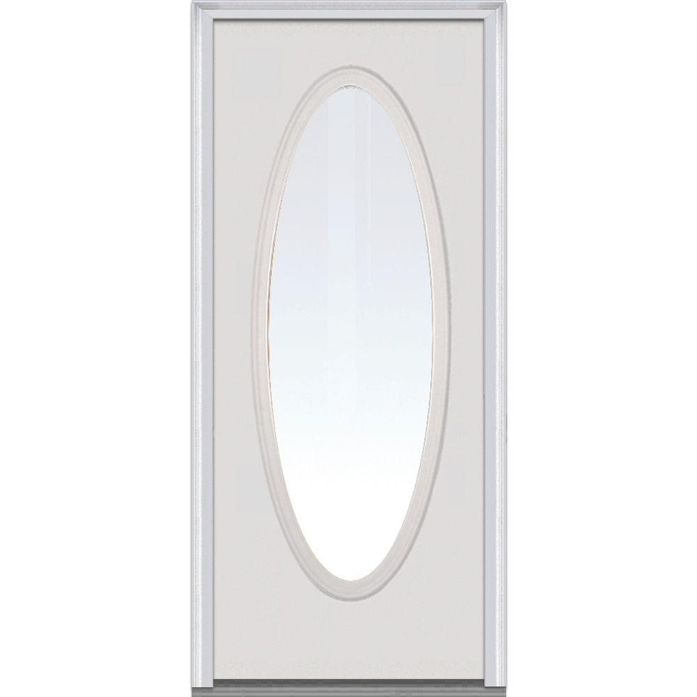Mmi door 30 in x 80 in clear glass left hand large oval for Home depot front doors with glass