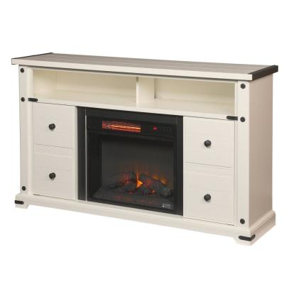 Brannen 60 in. Freestanding Industrial Media Console Electric Fireplace TV Stand in White