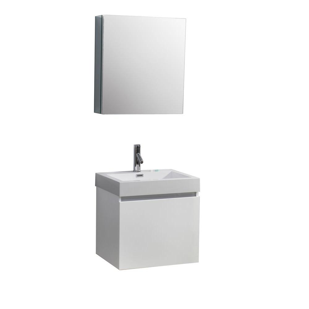 Virtu USA Zuri 24 in. W Vanity in Gloss White with Poly-Marble Vanity Top in White with White Basin and Mirror