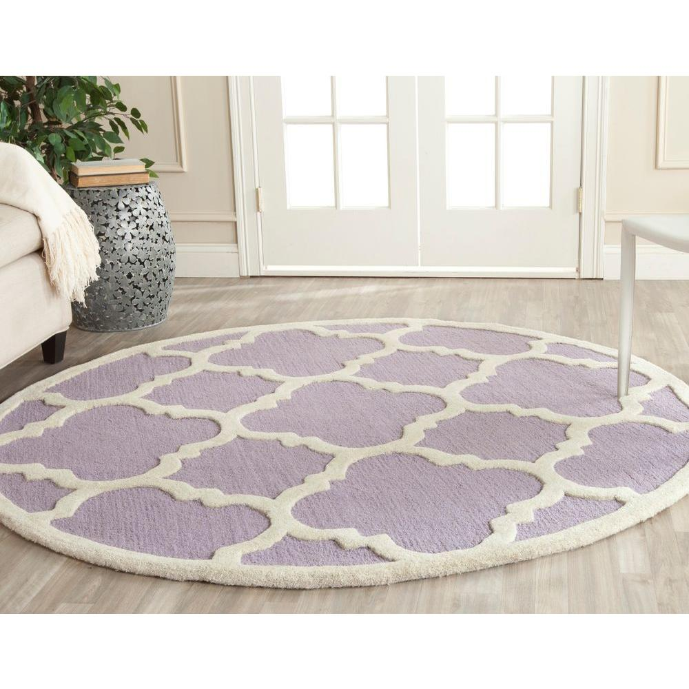 Lavender Rug: Safavieh Cambridge Lavender/Ivory 6 Ft. X 6 Ft. Round Area