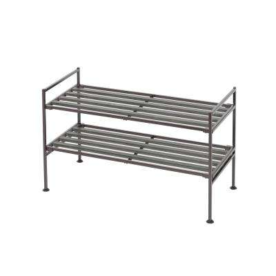 Espresso 2-Tier Resin Slat Utility Shoe Rack