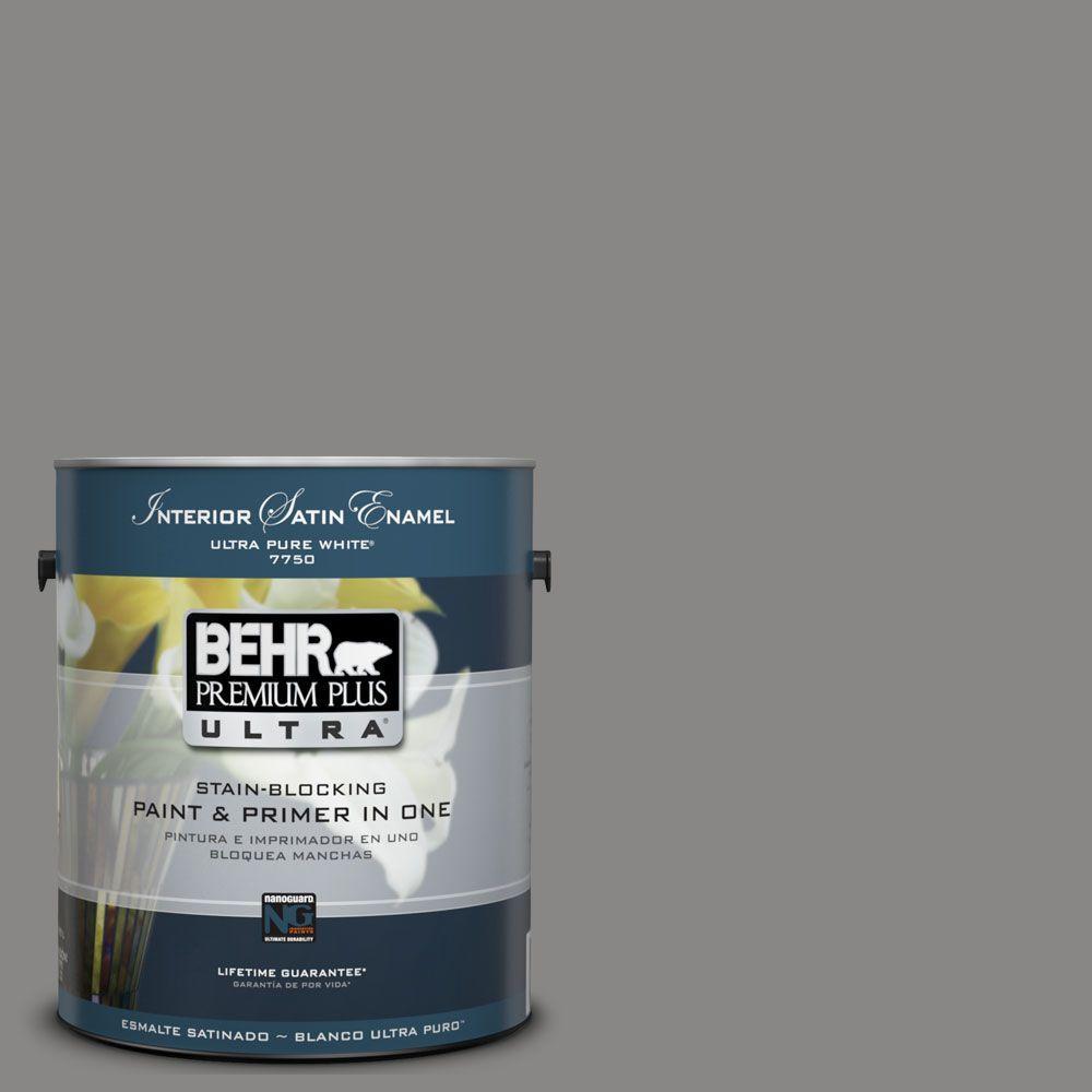 BEHR Premium Plus Ultra 1-Gal. #UL260-4 Pewter Ring Interior Satin Enamel Paint