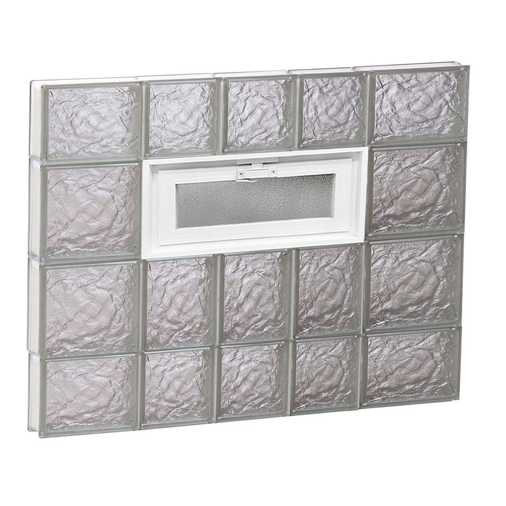 Clearly Secure 32.75 in. x 27 in. x 3.125 in. Frameless Ice Pattern Vented Glass Block Window