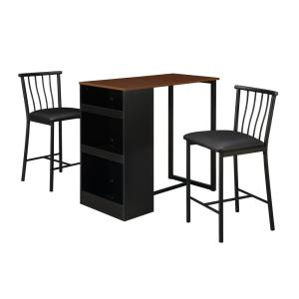 Admirable Dorel Living 3 Piece Walnut Black Counter Height Bar Set Ibusinesslaw Wood Chair Design Ideas Ibusinesslaworg