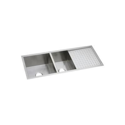 Crosstown Undermount Stainless Steel 47 in. Double Bowl Kitchen Sink with Drain Board