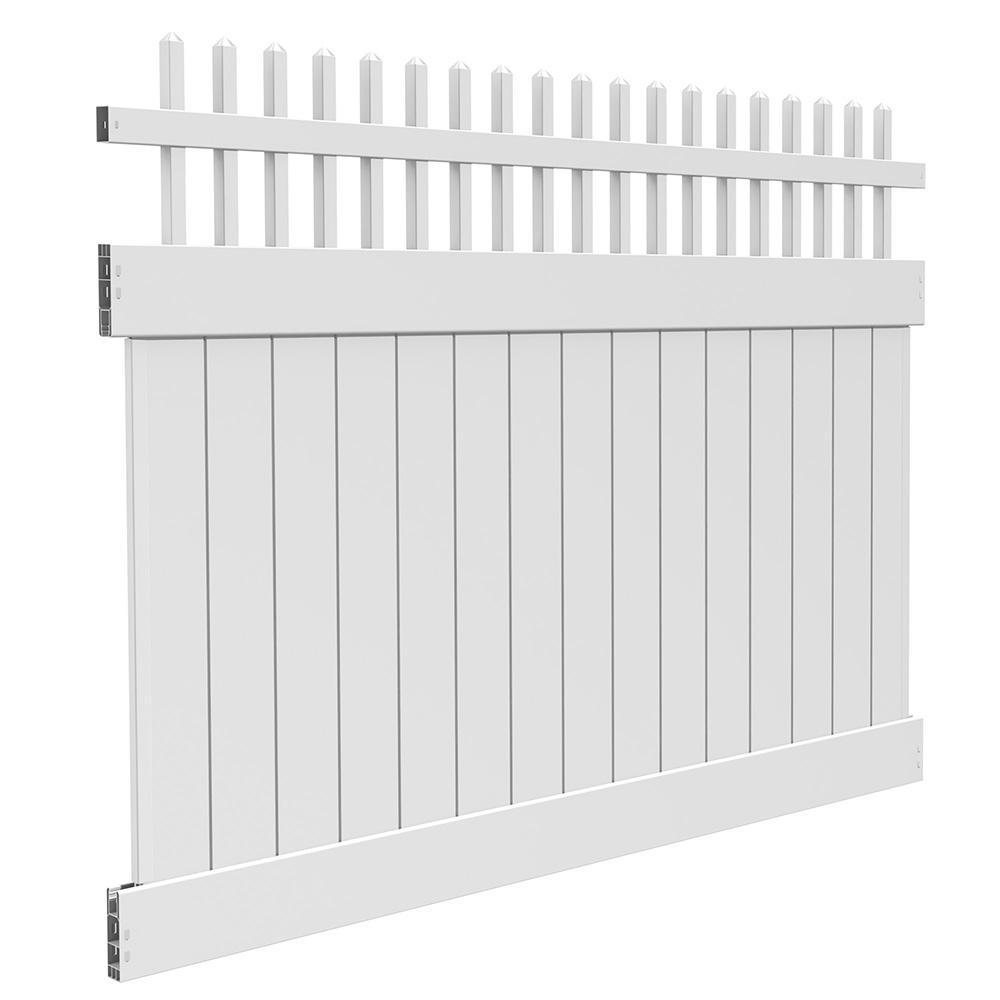 6 ft. H x 8 ft. W White Vinyl Vermillion Privacy Fence Panel Kit