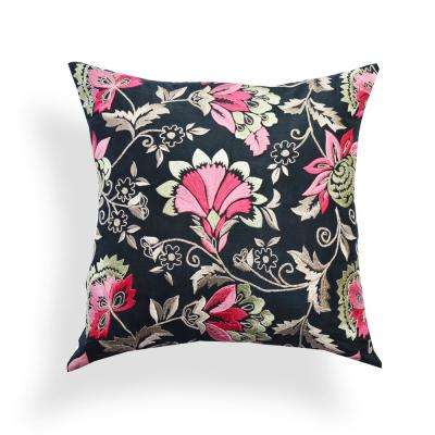 A1HC Organzza Handembroidered Classic Floral Boutique 20 in. x 20 in. Decorative Pillow