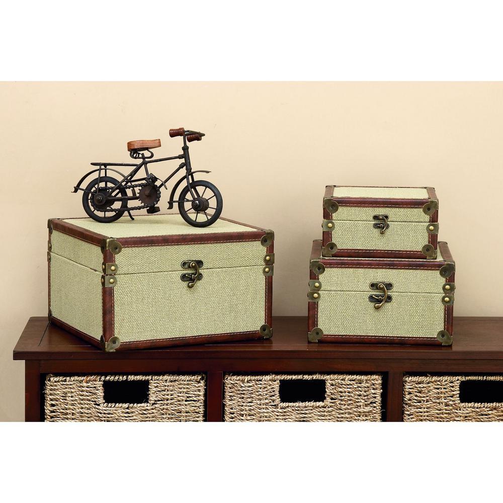 Merveilleux Burlap Decorative Boxes (Set Of 3)