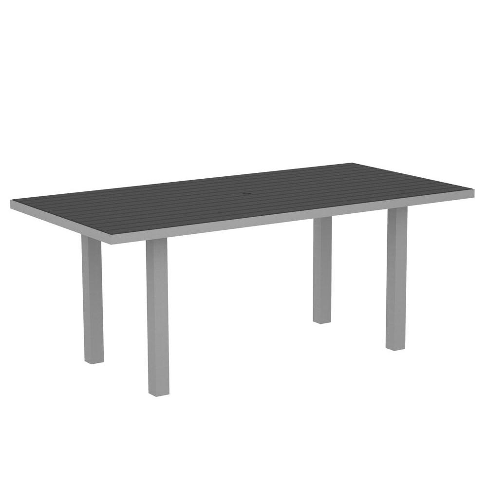 POLYWOOD Euro Textured Silver 36 in. x 72 in. Patio Dining Table with Slate Grey Top
