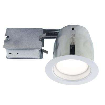 4.13 in. White Recessed Lighting Fixture Designed for Insulated Ceiling in Damp Locations