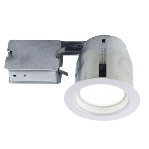 White Recessed Lighting Fixture Designed For Insulated Ceiling In Damp Locations