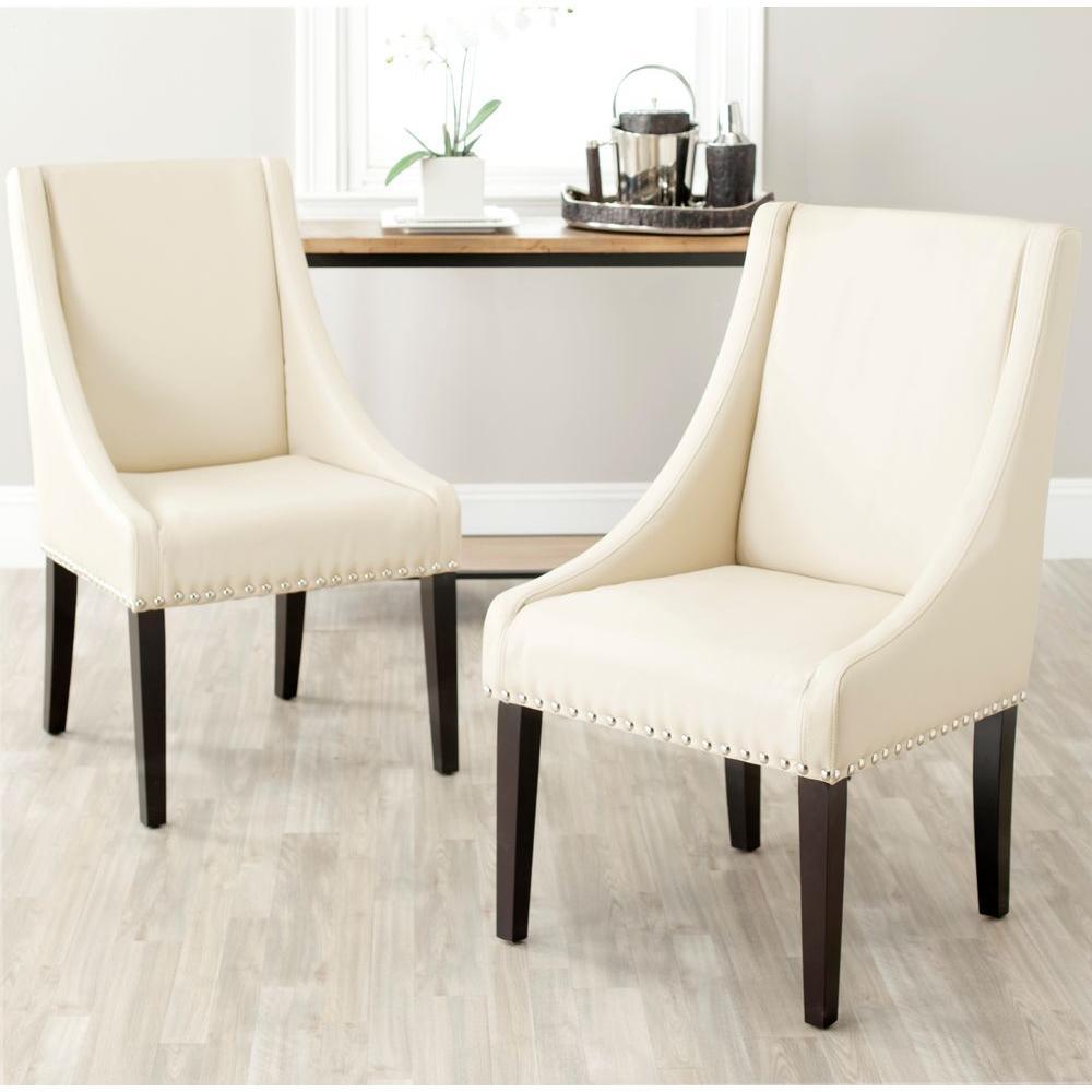 Britannia Cream Bicast Leather Side Chair (Set of 2)