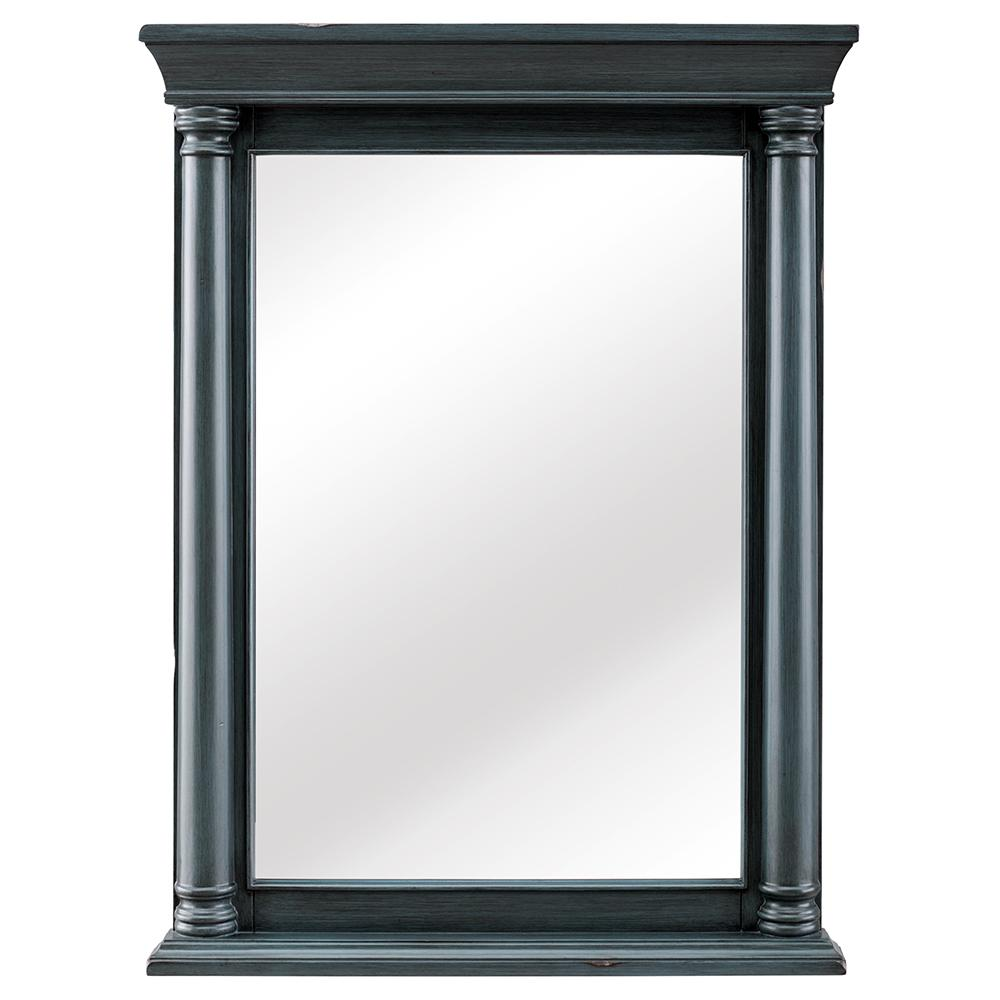 Home Decorators Collection Strousse 24 in. W x 32 in. H Framed Wall Mirror in Distressed Blue Fog