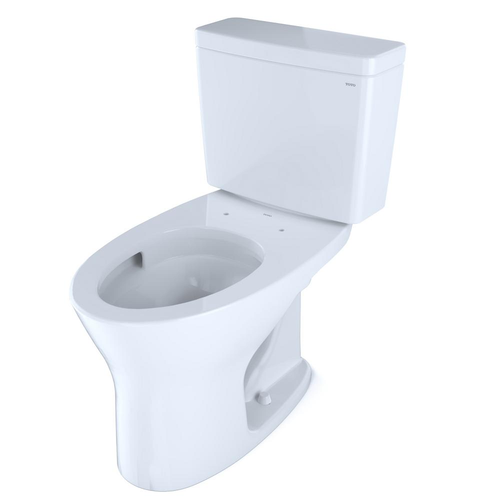 TOTO TOTO Drake 2-Piece 0.8 GPF and 1.28 GPF Dual Flush Elongated Dynamax Tornado Flush Toilet in Cotton White, Seat not Included