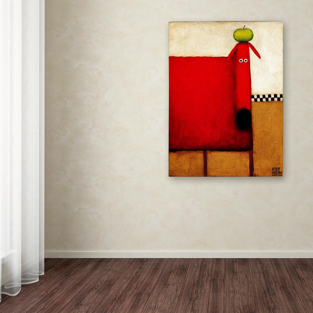 "19 in. x 14 in. ""Red Dog With Apple"" by Daniel"