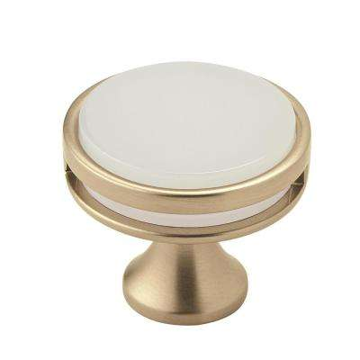 Oberon 1-3/8 in. (35 mm) Golden Champagne/Frosted Acrylic Cabinet Knob