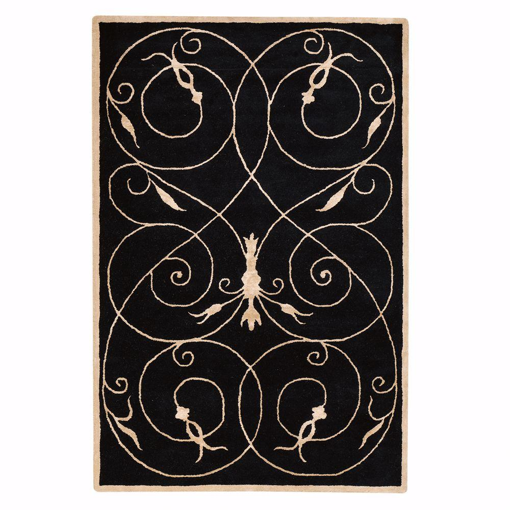 Home Decorators Collection Scrolls Black 5 ft. 3 in. x 8 ft. 3 in. Area Rug