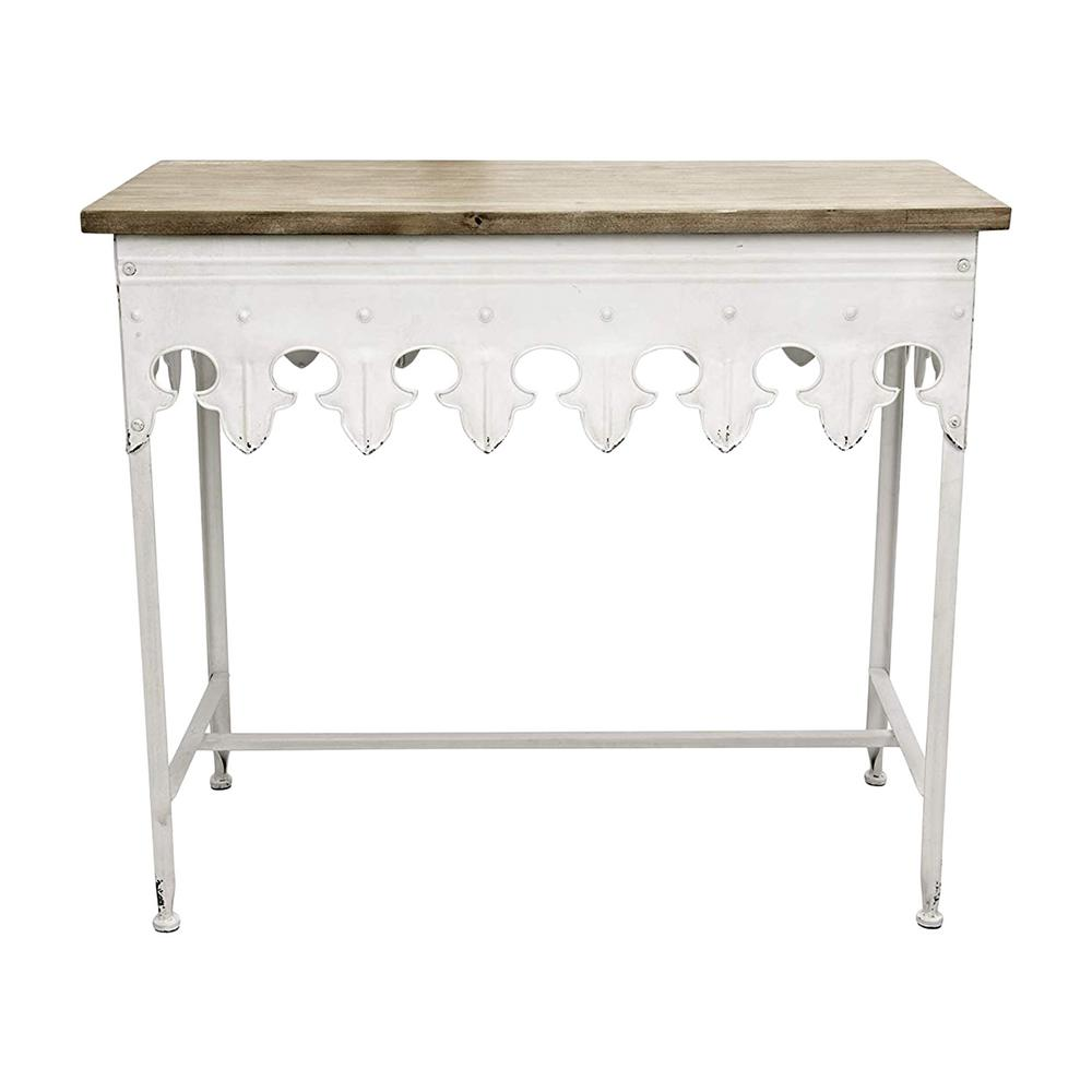 Phenomenal 3R Studios Antique White Brown Metal Scalloped Edge Console Pabps2019 Chair Design Images Pabps2019Com
