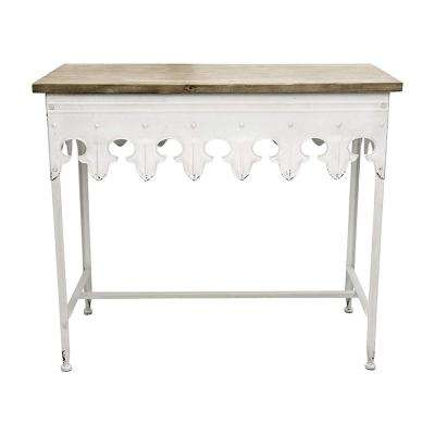36 in. Antique White/Brown Standard Rectangle Wood Console Table with Wood Top
