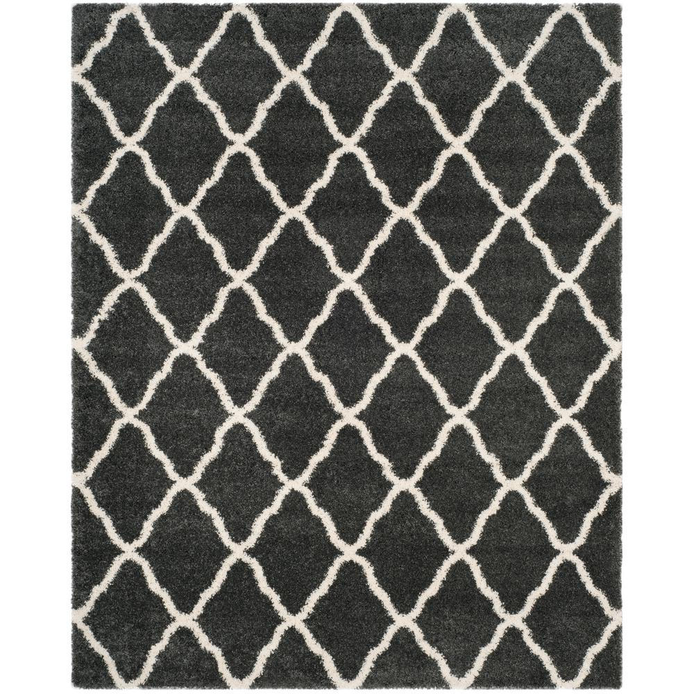 Hudson Shag Dark Gray/Ivory 8 ft. x 10 ft. Area Rug