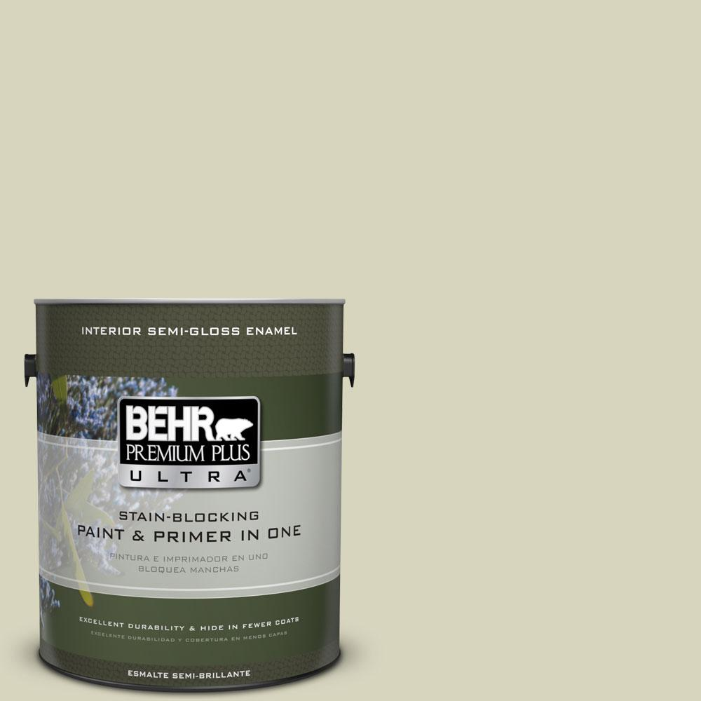 BEHR Premium Plus Ultra 1-gal. #PPU9-17 Pale Cucumber Semi-Gloss Enamel Interior Paint
