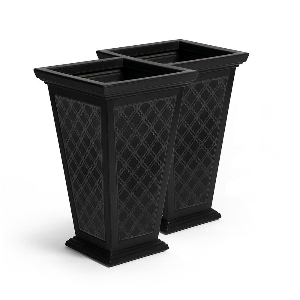 Fcmp Outdoor Tall 15 In X 24 In Black Plastic Casablanca Planter 2 Pack Mod Cp3000 Blk 2 The Home Depot