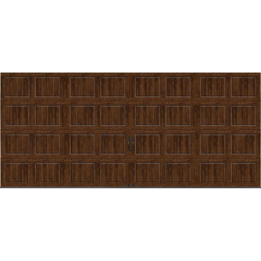 Clopay Gallery Collection 16 ft. x 7 ft. 18.4 R-Value Intellicore Insulated Solid Ultra-Grain Walnut Garage Door