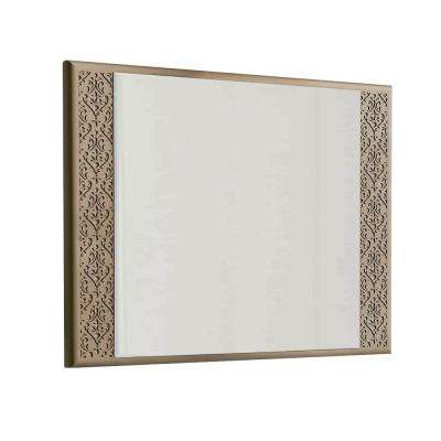 Rome 32 in. W x 30 in. H Framed Wall Mounted Vanity Bathroom Mirror in Brown