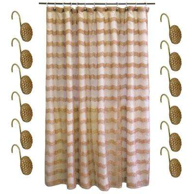 Chateau 72 in. Bronze Polyester 13-Piece Shower Curtain Set