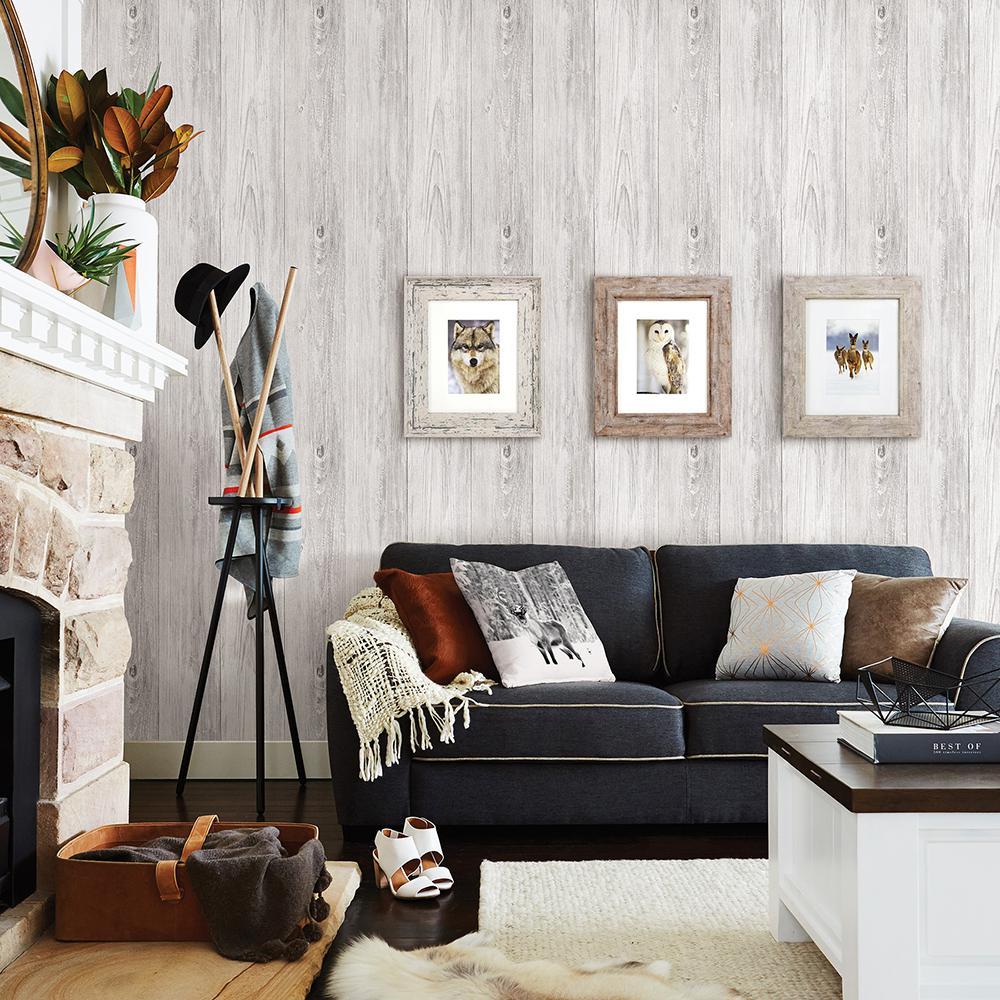 56.4 sq. ft. Mapleton Off-White Shiplap Wallpaper
