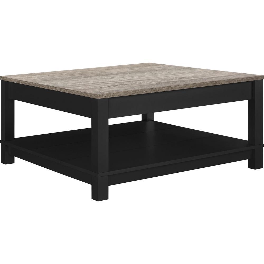 Furinno Jaya Oval Coffee Table: Furinno JAYA Walnut And Black Built-In Storage Coffee