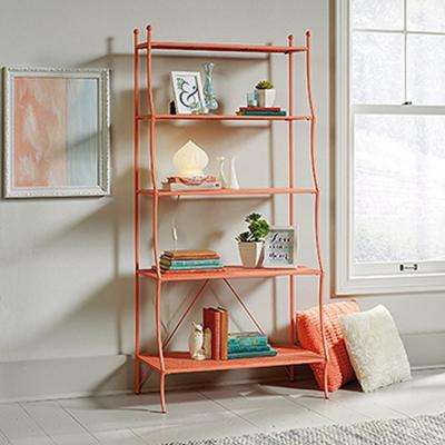 Eden Rue Coral 5-Shelf Metal Bookcase