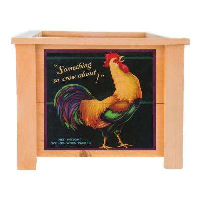 15 in. x 15 in. Deluxe Cedar Wood Planter Box with Rooster Art