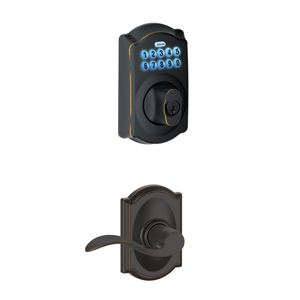 Schlage Camelot Aged Bronze Keypad Electronic Deadbolt And