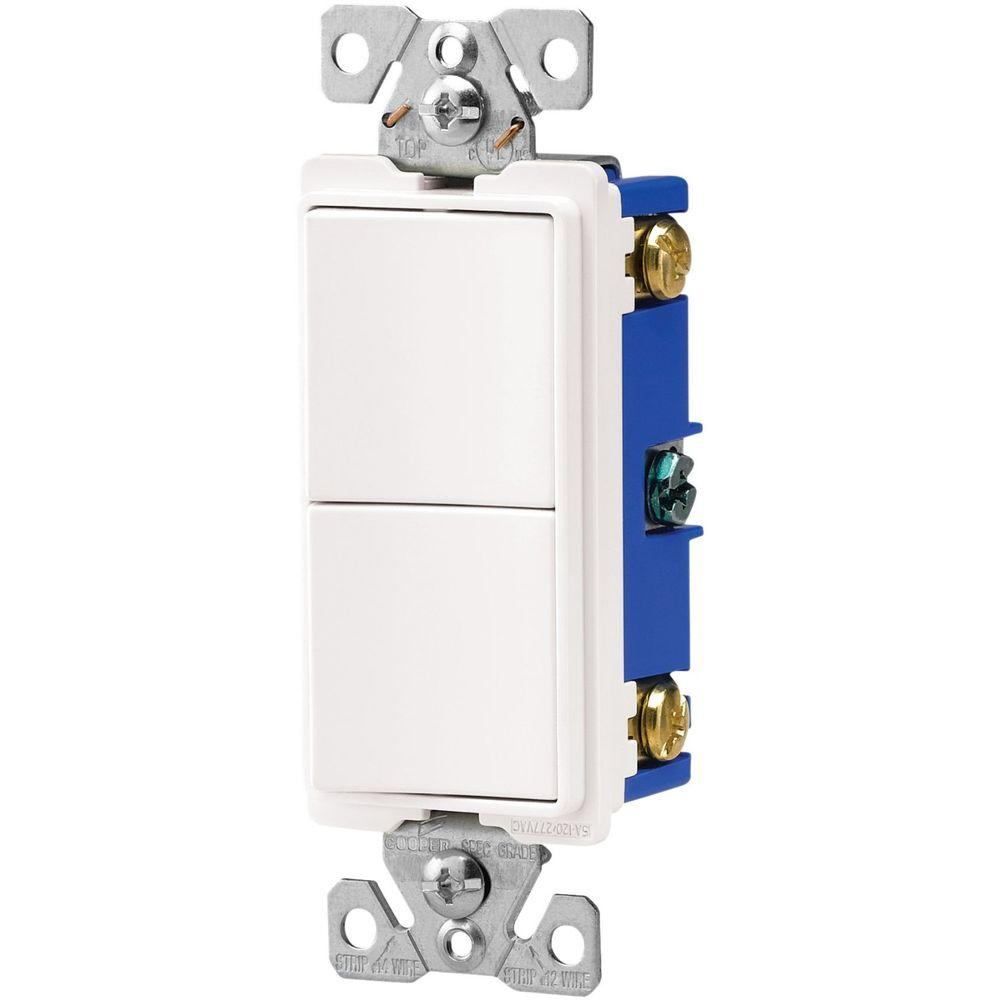 15 Amp Two Single Pole Combination Decorator Light Switch - White