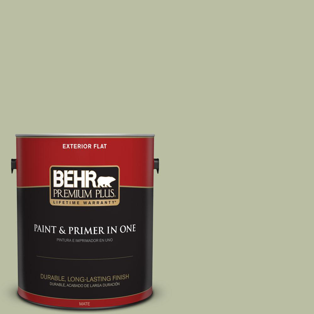 BEHR Premium Plus 1-gal. #ICC-57 Dried Thyme Flat Exterior Paint