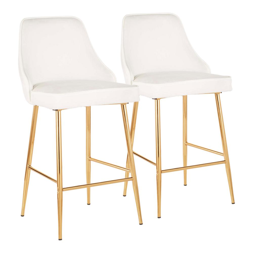 Lumisource Marcel 25 In Gold Metal Counter Stool With White Velvet