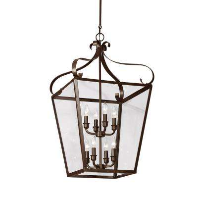 Lockheart 8-Light Heirloom Bronze Hall-Foyer Pendant with Dimmable Candelabra LED Bulb