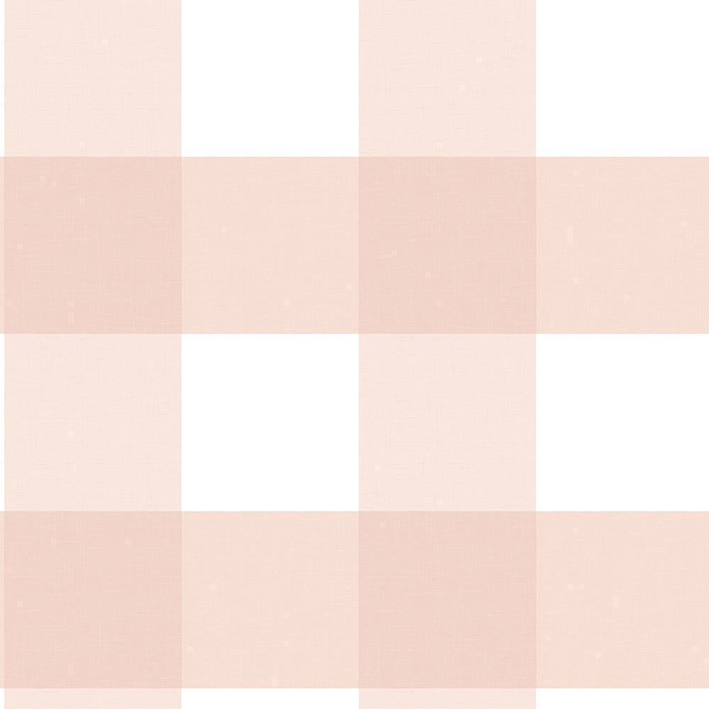 56 4 sq  ft  Selah Light Pink Gingham Wallpaper