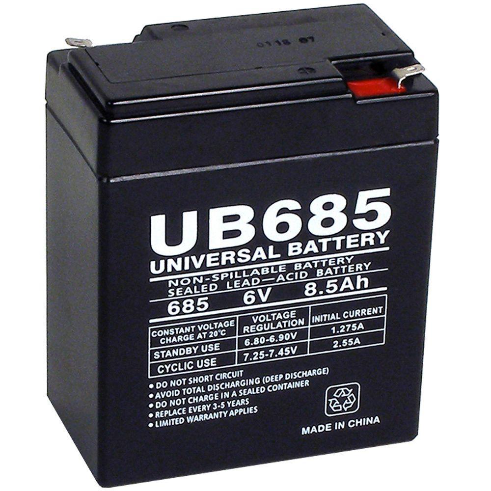 6-Volt 8.5 Ah F1 Terminal Sealed Lead Acid (SLA) AGM Rechargeable Battery