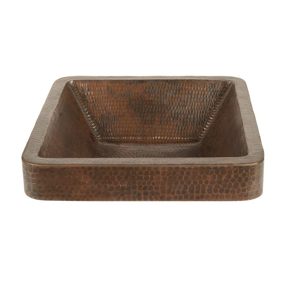 Astonishing Premier Copper Products Square Skirted Hammered Copper Vessel Sink In Oil Rubbed Bronze Home Remodeling Inspirations Genioncuboardxyz