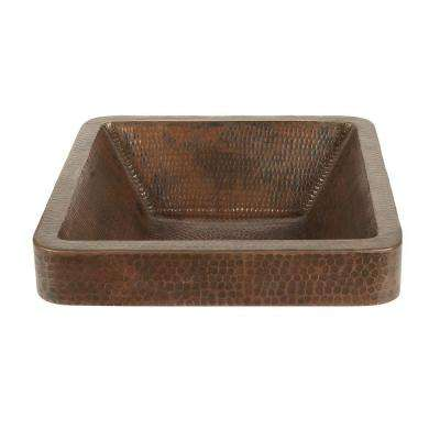 Square Skirted Hammered Copper Vessel Sink In Oil Rubbed Bronze