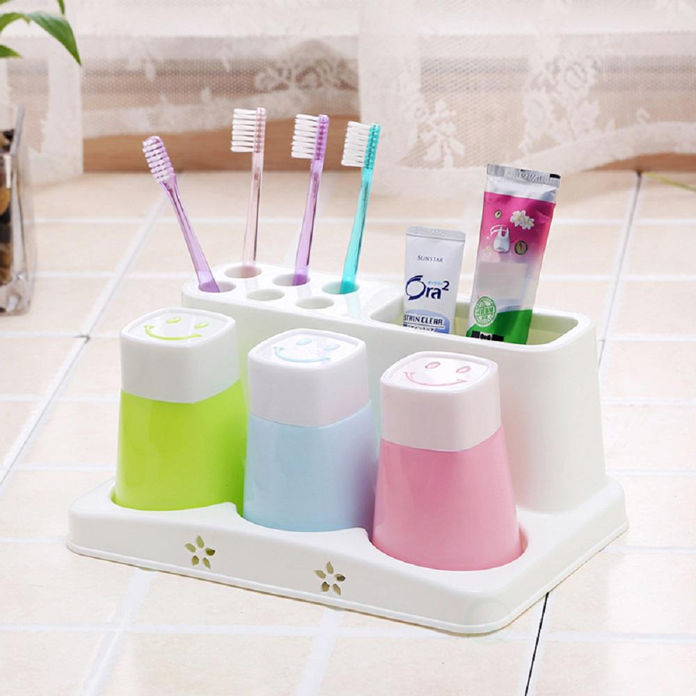 Basicwise Family Size Toothbrush and Toothpaste Holder with 3-Cups ...