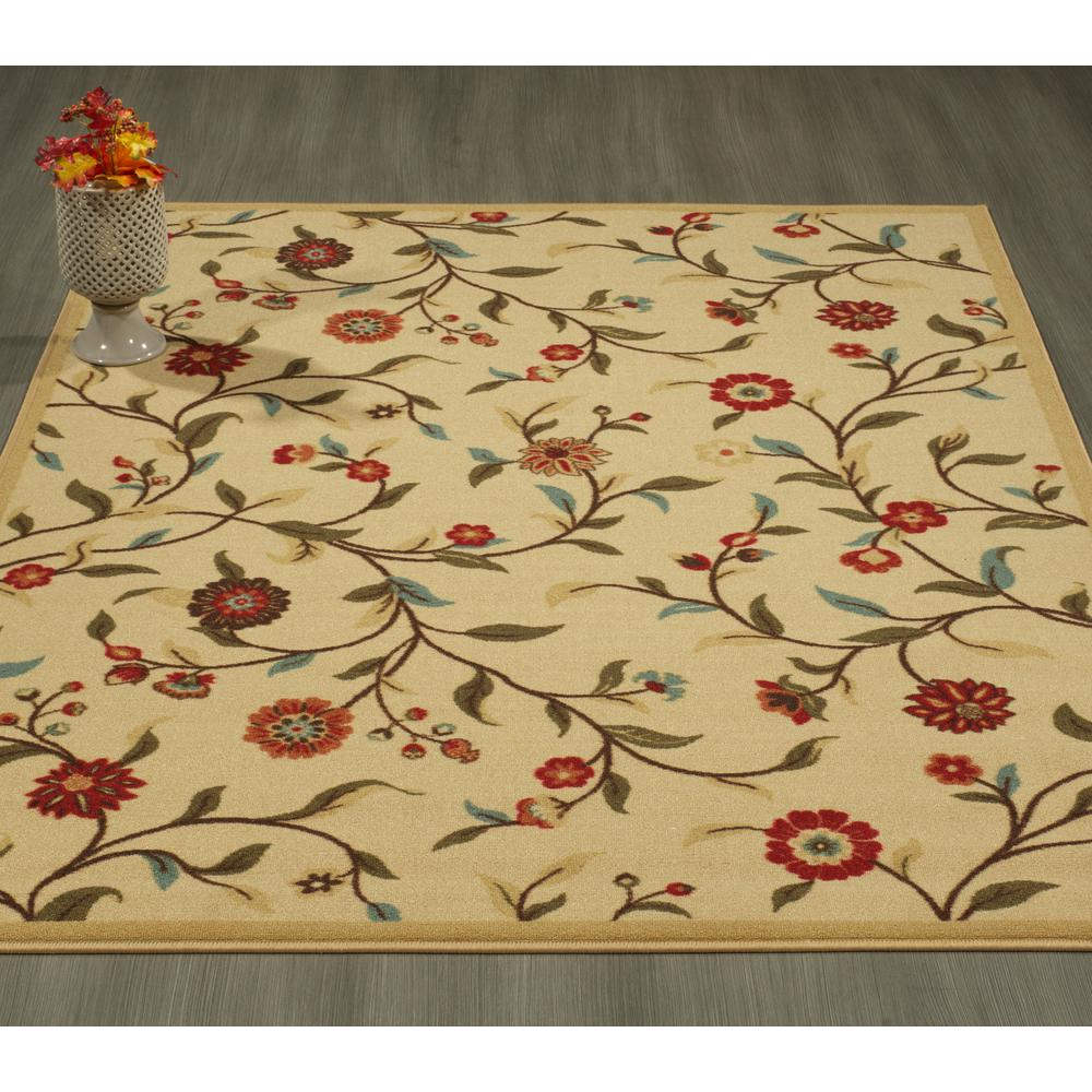 Christmas Area Rugs 8 X 10.Ottohome Collection Floral Garden Design Beige 8 Ft X 10 Ft Non Skid Area Rug