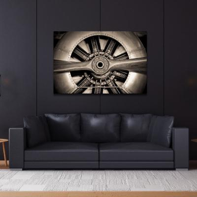 "48 in. x 32 in. ""Plane Propeller"" Frameless Free Floating Tempered Glass Panel Graphic Art Wall Art"