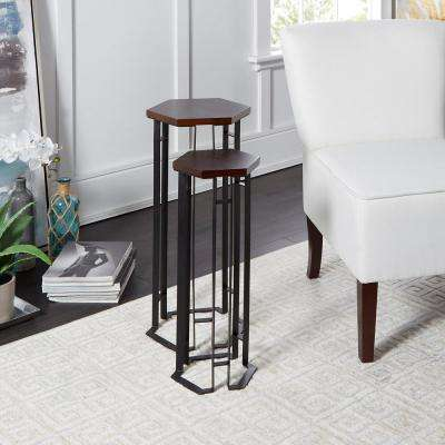 Eleanor Brown and Black Hexagon Accent Tables (Set of 2)