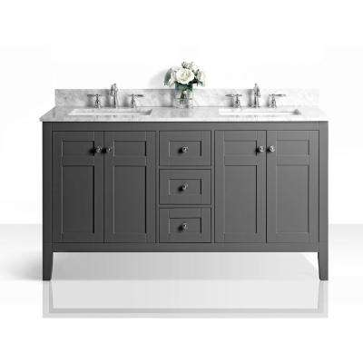 Maili 60 in. W x 22 in. D Vanity in Sapphire Gray with Marble Vanity Top in Carrara White with White Basins