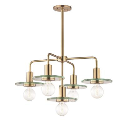 Peyton 5-Light Aged Brass Chandelier with Clear Glass